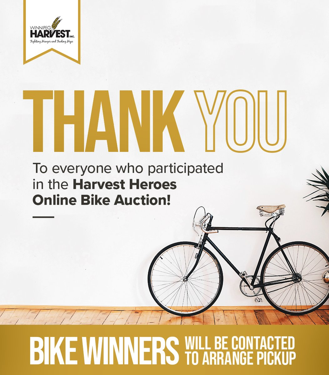 Thanks for bidding!  Bike auction winners will be contacted to arrange pickup.  #HarvestHeroes https://t.co/y1YkLPSQ0r