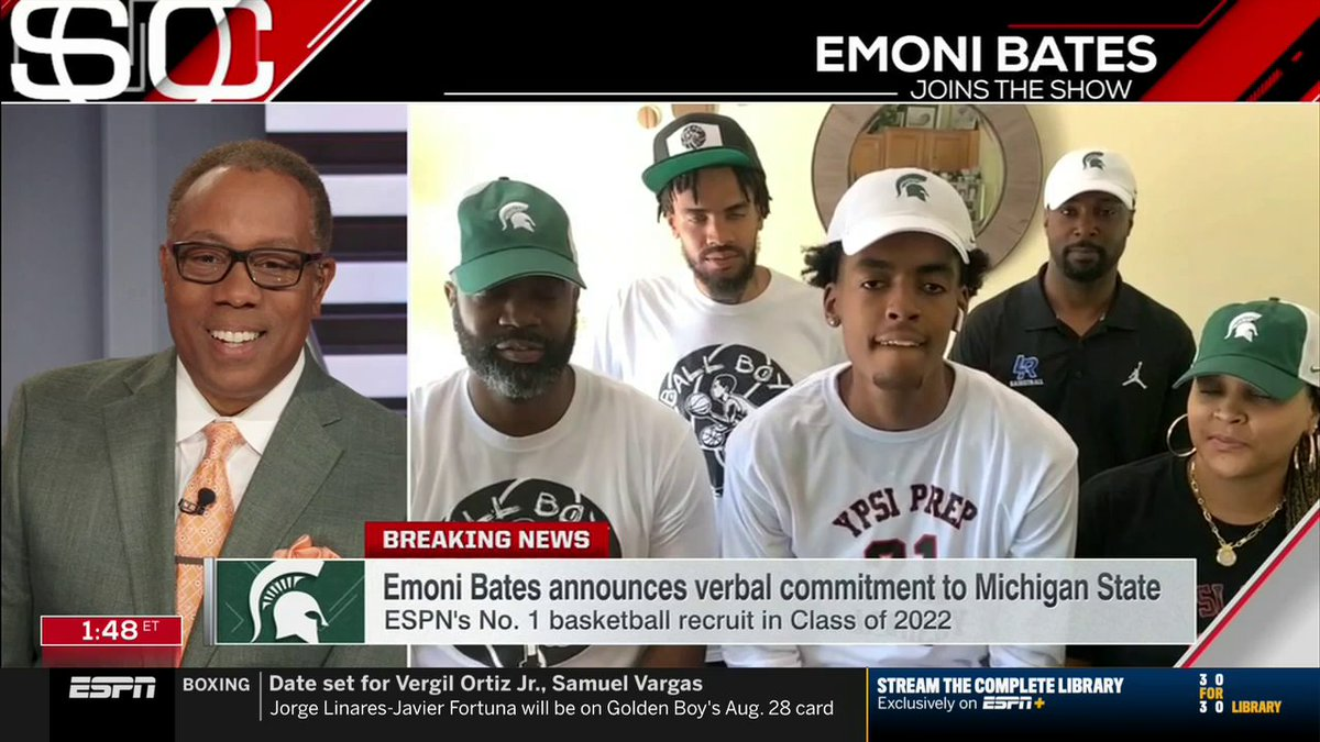 """""""I'm big on loyalty and they showed me all loyalty ... I gotta show them love back.""""  Sparty has landed one of the top players in high school basketball in Emoni Bates 👀 https://t.co/mJ2glZMnnF"""