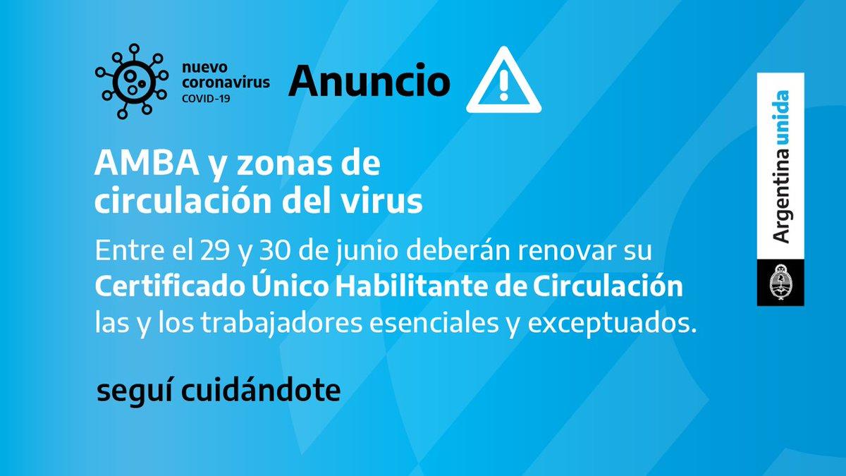 El lunes 29 y el martes 30 de junio se deberá renovar el Certificado Único Habilitante para Circulación.   Para saber quiénes deben hacerlo y tramitarlo ingresá en https://t.co/OaP5MgCHxE  #ArgentinaUnida  (261) https://t.co/y7bWWay6Ko