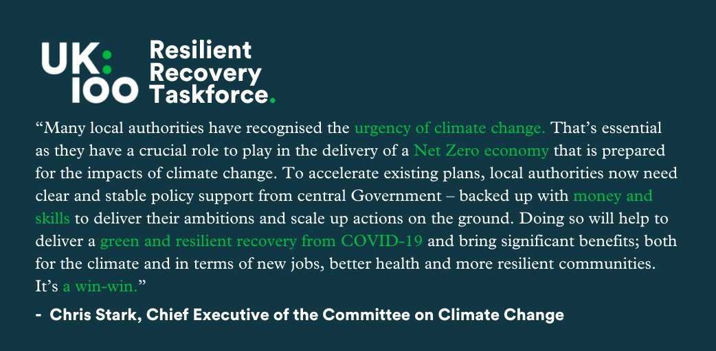 Yesterday we launched the #ResilientRecovery Taskforce.   To deliver a #GreenRecovery local authorities now need clear and stable policy support from central Government - backed up by skills and money, says @ChiefExecCCC the Chief Executive of the Committee on Climate Change https://t.co/kjm4pdGnak