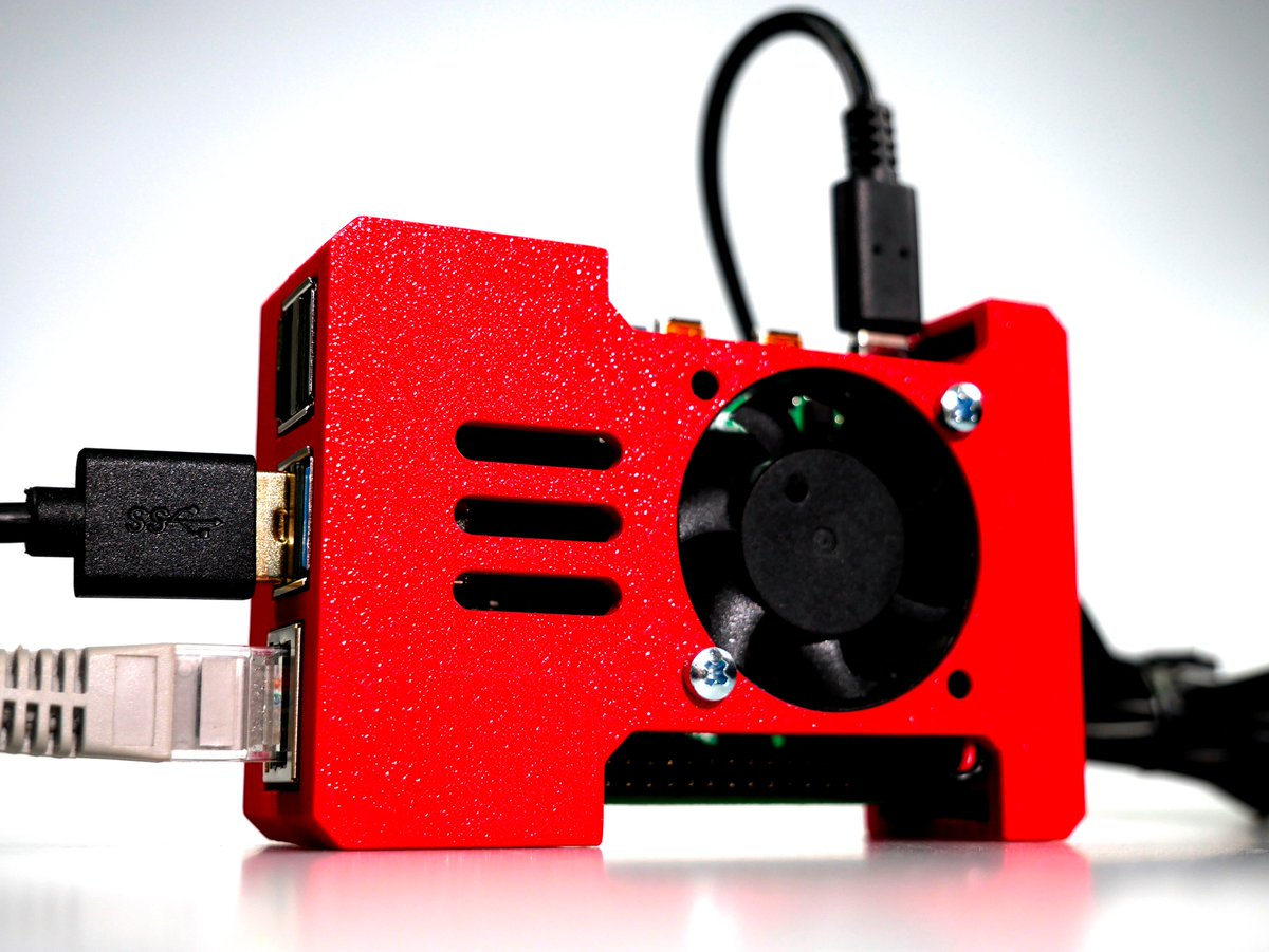 The Vertical Pi - Our new #raspberrypi 4 case, designed to be positioned vertically (can also be flat on the bottom). Look at that red @extrudr Greentec Pro filament!!! #3Dprinted #AdditiveManufacturing #3Dprinting   @eracoon Thank you for introducing this amazing material!
