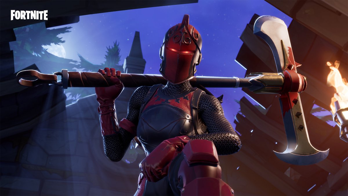 Equipped with crimson armor and ready for battle. Get the Red Knight Outfit in the Item Shop now!