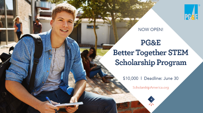Deadline is tomorrow! The PG&E Better Together #STEM #Scholarship is open through 6/30. If you're planning on being a full-time STEM undergrad at a CA university next year, visit https://t.co/OEeEzOa5Nb to learn more and apply. Applicants must be CA residents and PG&E customers. https://t.co/SXzCmtqqk5