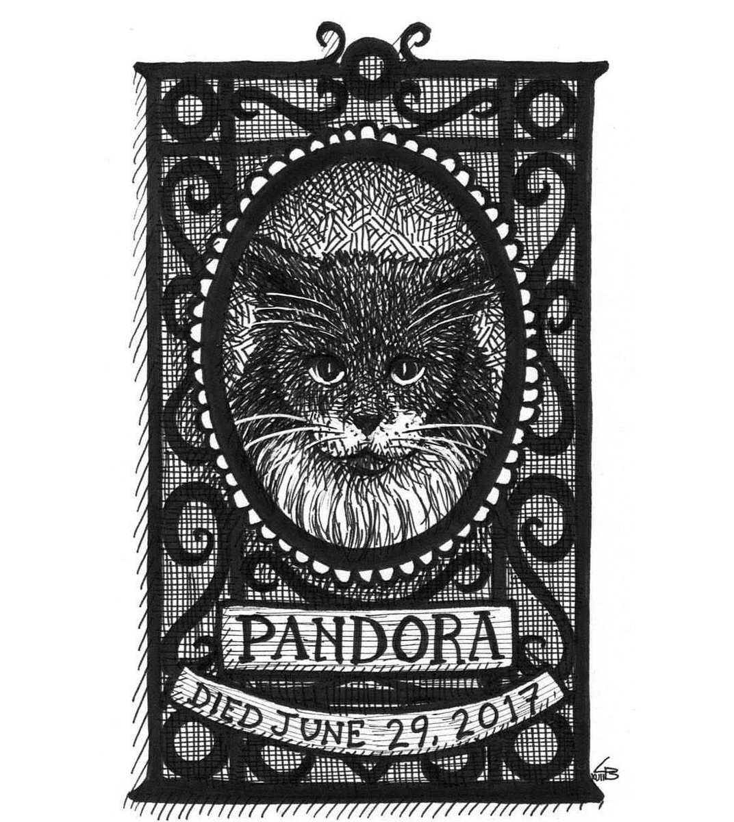 It is the anniversary of my dear Pandora's death. My heart aches 🖤 Art by @LandisBlair