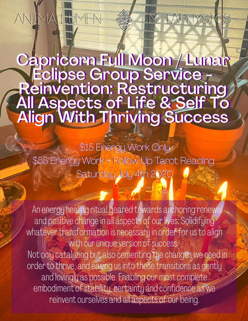 🧿💜Capricorn Full Moon & Lunar Eclipse Group Service💜🧿  Anchoring positive change and reinventing ourselves to better suit our individual versions of success 🤩✨  $15 energy work - $55 with follow up tarot reading ✨  07/04 - DM to reserve your spot! https://t.co/0vscQlD84s