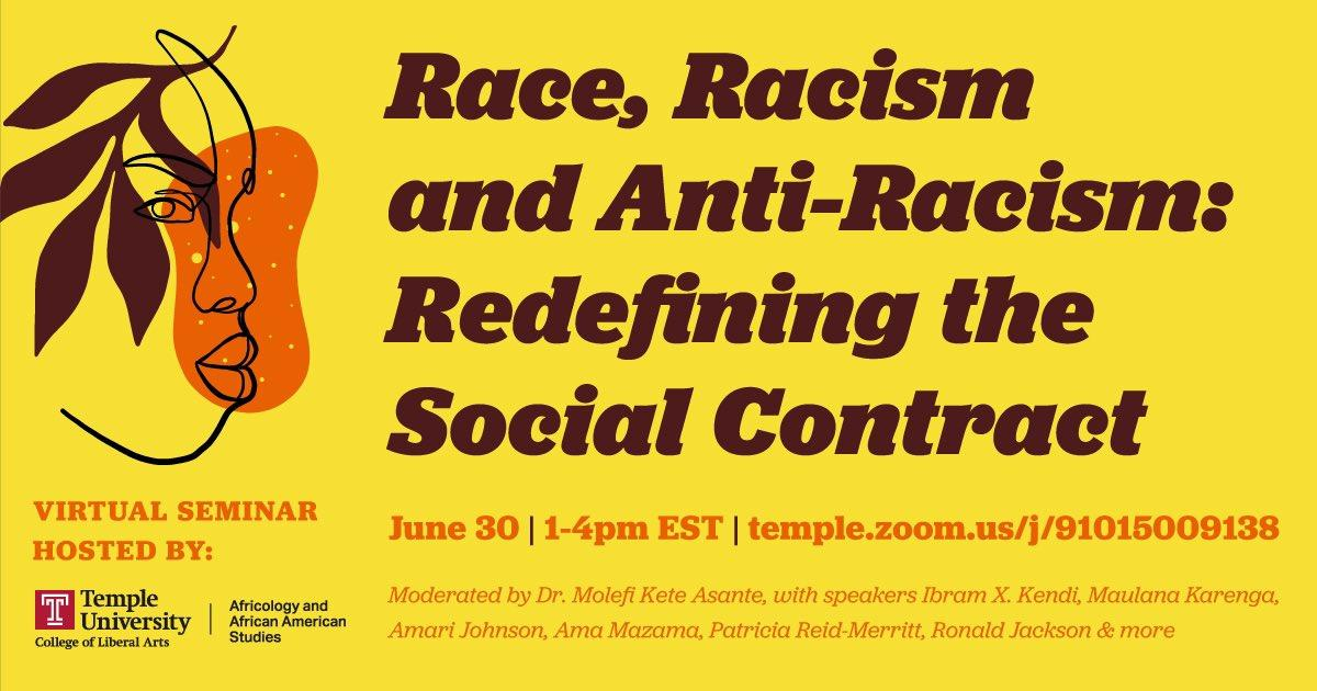 Tomorrow, join @TempleAAAS, moderator Dr. @MolefiAsante and a host of speakers for a virtual seminar on race, racism and anti-racism. Register now: bit.ly/AAASseminar630