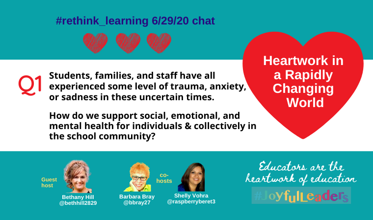 Q1. Students, families, & staff have some trauma, anxiety, or sadness because of the pandemic & in uncertain times.   How do we support social, emotional, and mental health for individuals and collectively for everyone in the school community?   #rethink_learning  #JoyfulLeaders