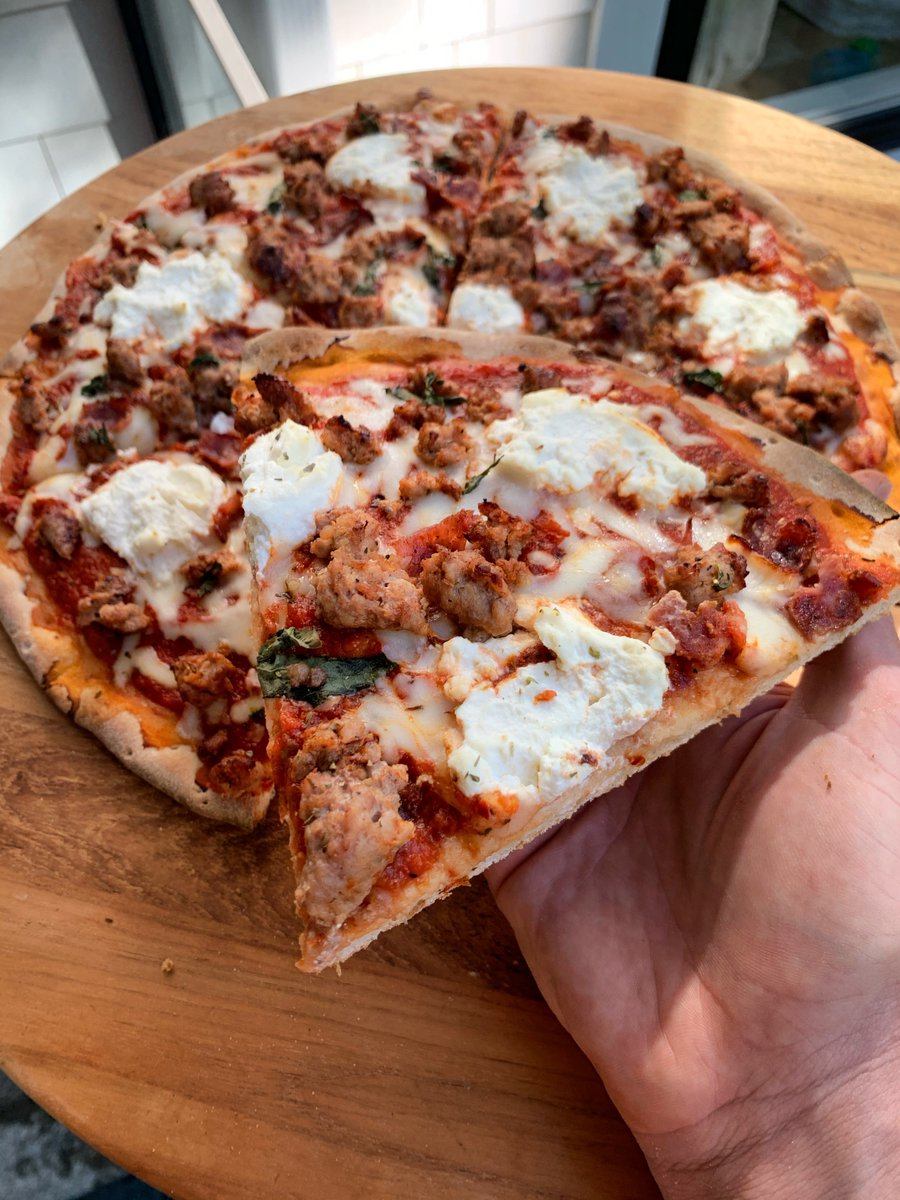 Topped with turkey sausage and turkey bacon, this pizza by @Phil_Mackenzie1 is packed with protein in every bite. #thinkturkey Get the recipe here: https://t.co/hB9gUbCtSz https://t.co/hvNcfZqv9I