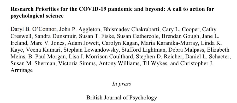 """Will be sharing our """"hot off the press"""" paper on """"Psychological Research Priorities for the COVID-19 Pandemic and Beyond"""" tomorrow @BPSOfficial's #bpsconf. The fruits of much (rapid) labour by this great group [paper online soon]. Still time to register https://t.co/77mo0T1Jrn https://t.co/266RXr5Gou"""