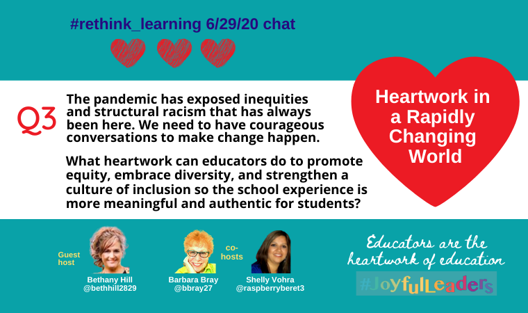 Q3. The pandemic has exposed inequities and structural racism that has always been here.   What Heartwork can educators do to promote equity & strengthen a culture of inclusion so the school experience is more authentic for students?   #rethink_learning #JoyfulLeaders
