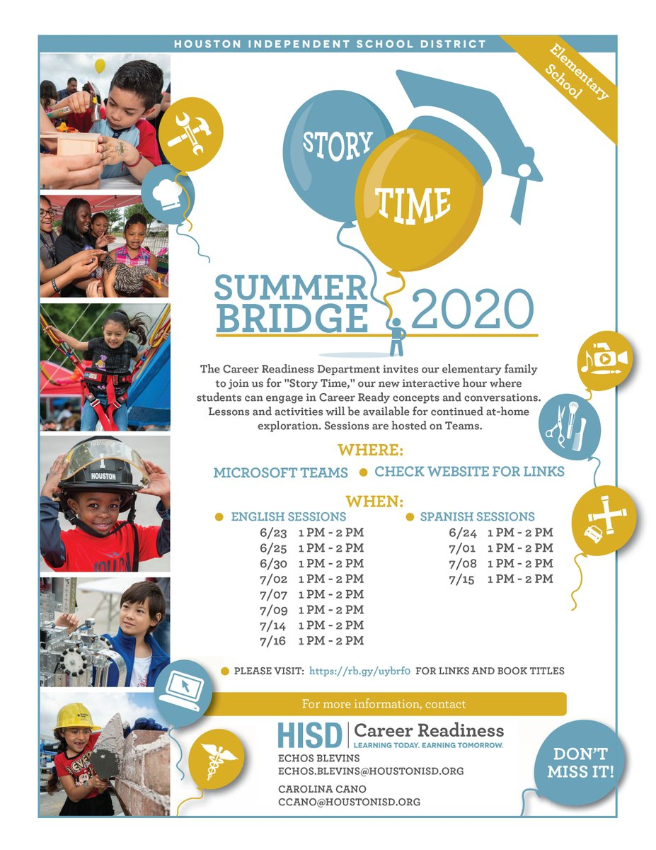 Houston Isd On Twitter Join The Houstonccr Team For Summer Bridge Story Time A New Interactive Hour Where Students Can Engage In Career Ready Concepts And Conversations Lessons And Activities Will Be