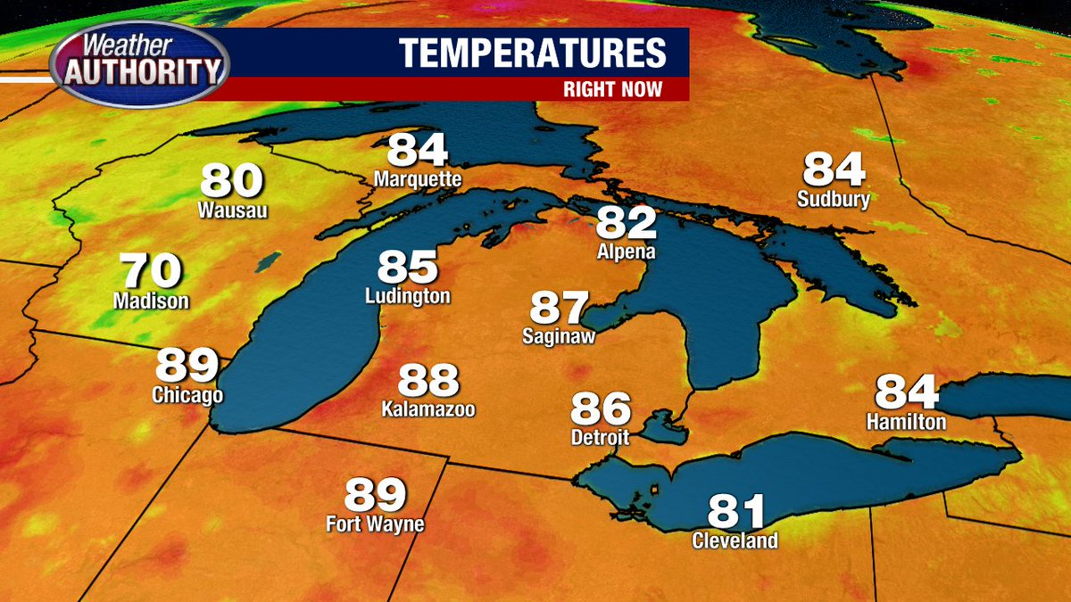 4:30 PM Temps... Very warm again today across Michigan. Spotty t-showers over parts of Wisconsin. ENJOY!!!