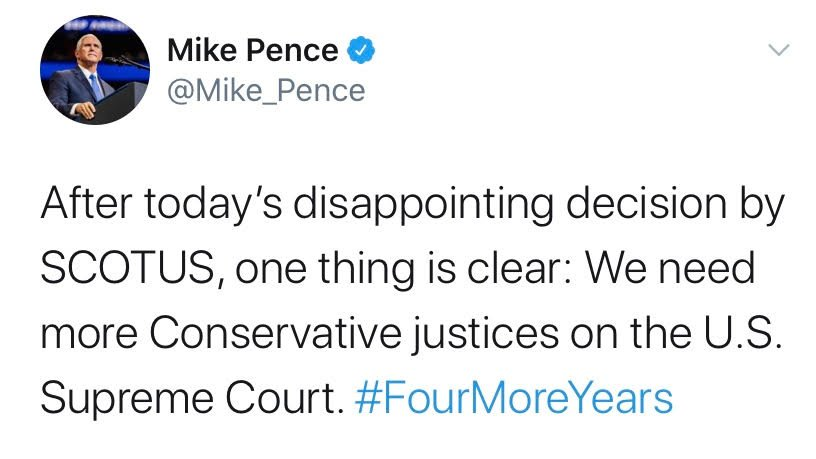 Actually, we need fewer conservatives on the Court and well ensure that by getting rid of you, Donald Trump and your enablers in the Senate — who are packing the courts to do your bidding.