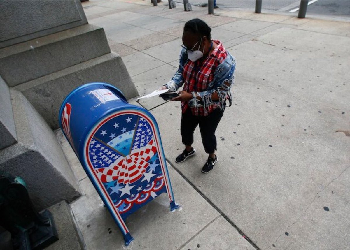 """In @PhillyInquirer story saying """"instances of voter fraud are exceedingly rare""""   ...they use photo of someone dropping off two ballots, which is illegal in PA...   Can't make this up.   https:// next.inquirer.com/article/politi cs/election/trump-campaign-lawsuit-pennsylvania-mail-ballots-20200629.html  … <br>http://pic.twitter.com/ShdMeh87hz"""