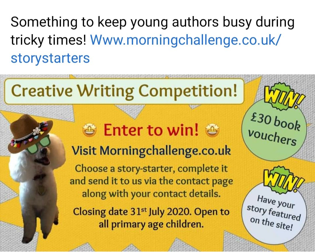 Fancy a competition? Write a story based on one of the story starters and send it to the morning challenge website. #getwriting https://t.co/cUyiwB8wQn