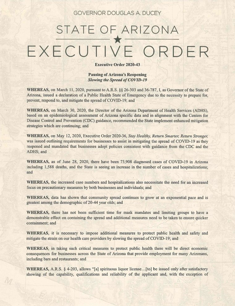 Full text of governor's executive order on bar, gym, theater, water park/tubing closures: