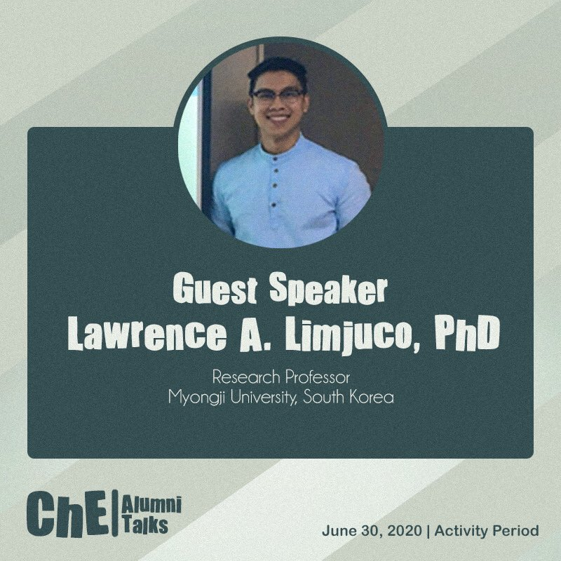 Our speaker for this event will be Engr. Lawrence A. Limjuco, PhD 👷‍♂️✨ #ReaChEngHigher