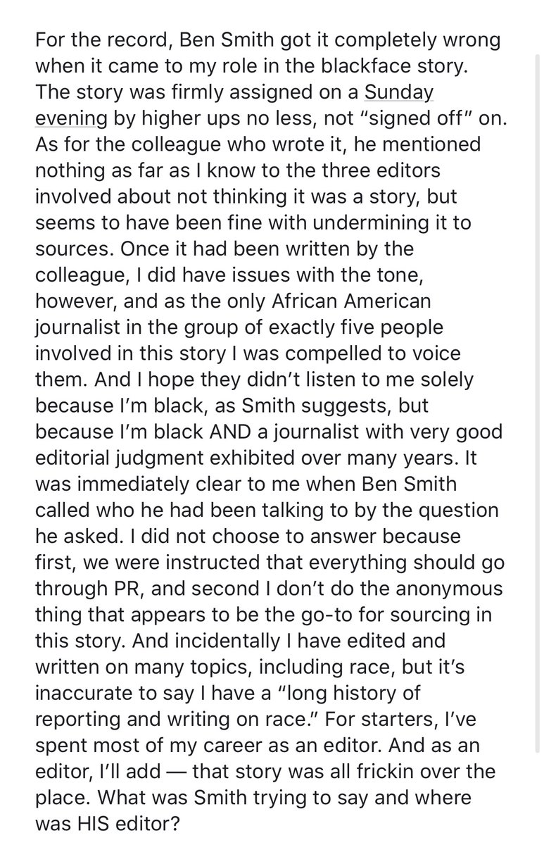 """Still no journalist at the Washington Post has been willing to defend the blackface party story on the record, but here is author Sidney Trent criticizing her co-author Marc Fisher in a friends-only Facebook post for having been """"fine with undermining it to sources."""""""