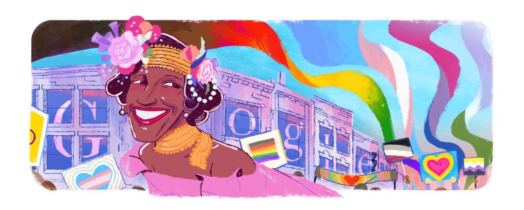 A #GoogleDoodle celebrating the life & legacy of American LGBTQ+ rights activist, performer, & self-identified drag queen Marsha P. Johnson.   Thank you, Marsha, for inspiring people everywhere to stand up for the freedom to be themselves. → https://t.co/Xj5gXYgz2M https://t.co/CnqnHbTrKA