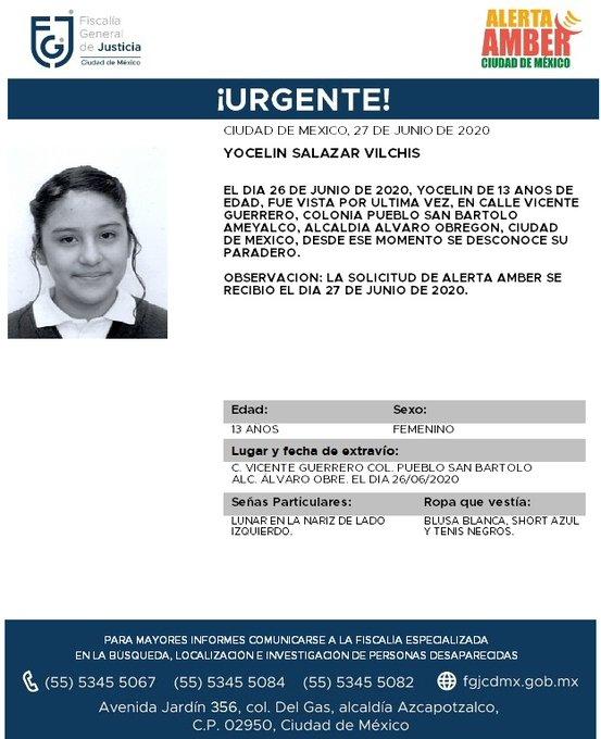 ¡COMPARTE! Posiblemente gracias a ti podamos localizar a Yocelin Salazar Vilchis, fue vista por última vez el día 26 de junio de 2020 en la colonia Pueblo San Bartolo Ameyalco, alcaldía Álvaro Obregón #CDMX https://t.co/KGFXXlk0sB