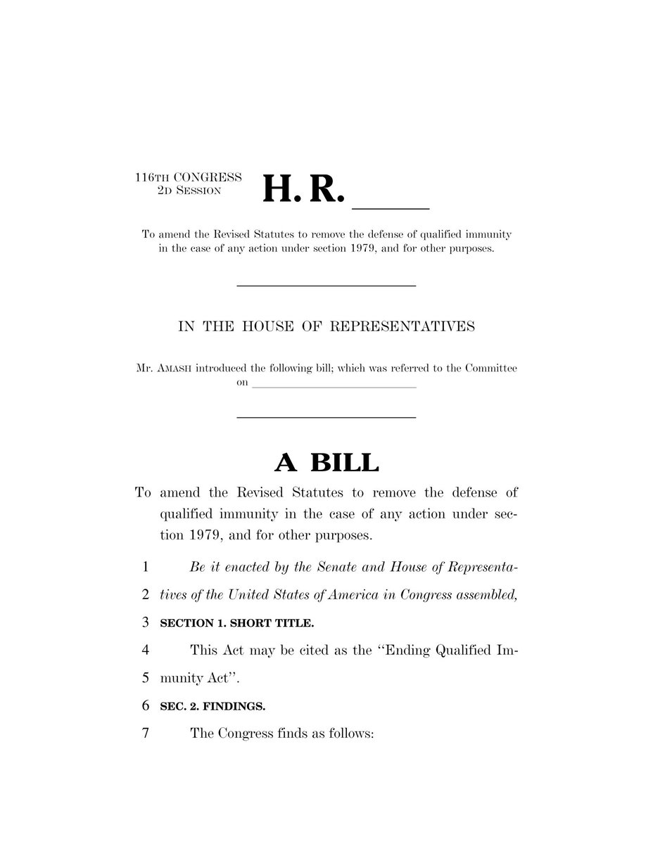 .@RepPressley and I have a four-page, tripartisan bill to END QUALIFIED IMMUNITY. Make it law. Protect people's rights. #HR7085 https://t.co/lPwirDSOtw