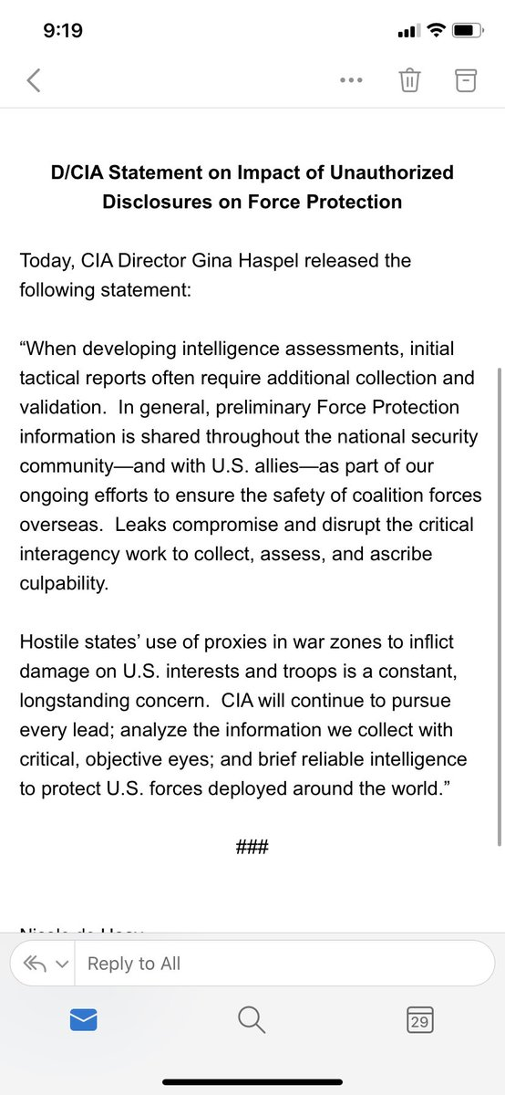 Just in: New statement from CIA Director Gina Haspel