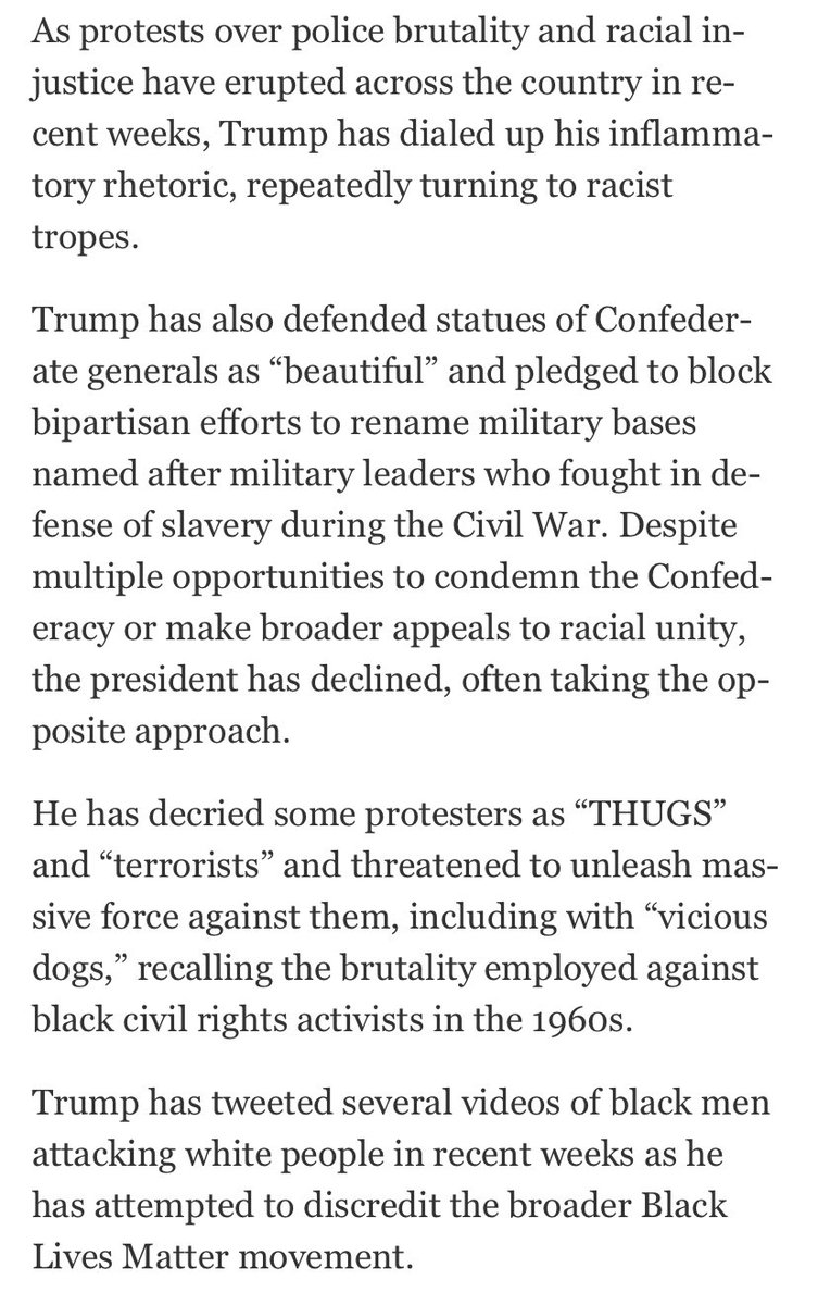"""When Trump tweets a video of a supporter chanting, """"White power!"""" and you drop in seven grafs of b-matter of other examples of racist tropes from the president, via @AshleyRParker @ToluseO https://t.co/JA7fGkk7ge https://t.co/4BQwysSrtN"""