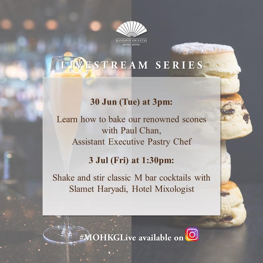 Tune in to this week's livestream! We're showing you how to bake our renowned scones and stirring M bar's classic cocktails. https://t.co/YcFyru5kEi  #MOHKGLive #MandarinOrientalHongKong #ImAfan #Scones #ClassicCocktails https://t.co/OnluQ3Wekf