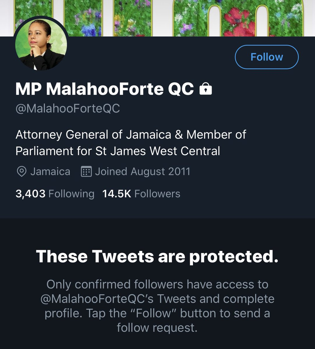 Public servant and Attorney General of Jamaica, @MalahooForteQC still has her account privated after she made light of misogynistic statements from our Minister of Justice @Delroychuckjm, just let that sink in. We need to do better #Jamaica  #MeTooJamaica #ResignNowChuckpic.twitter.com/TK2BpGHWDS