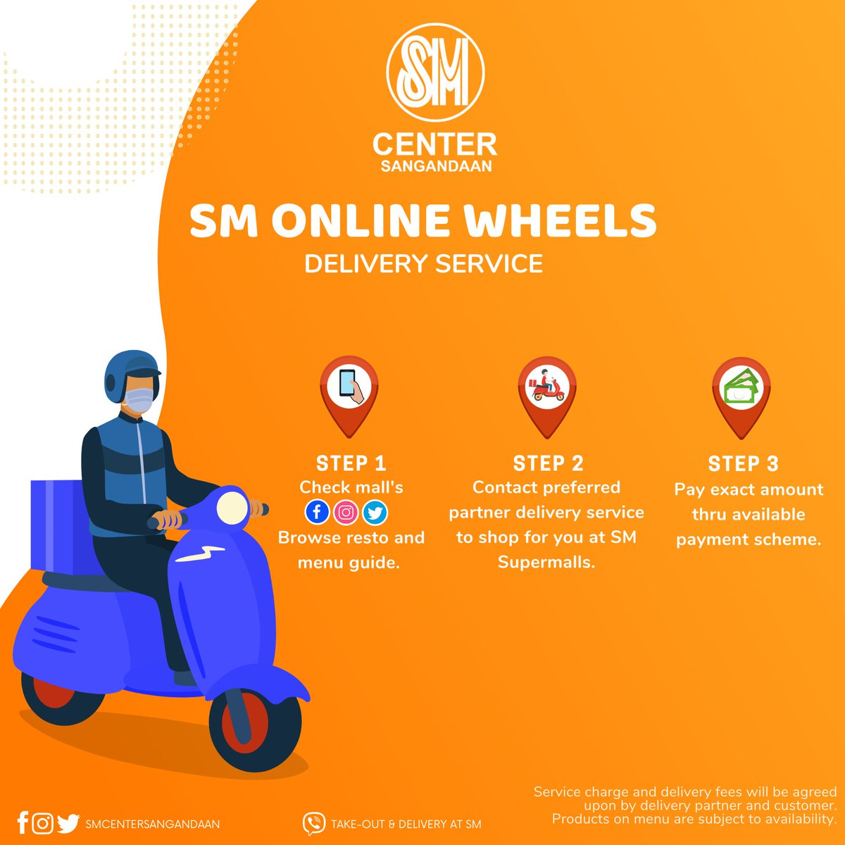 Bring home the joy of dining and shopping right at your doorstep. Check out SM Online Wheels' available delivery service partners around SM Center Sangandaan! Click link for:  OPEN STORES: https://t.co/WPKkAEGFAy MENU GUIDE: https://t.co/uYb6Swb7bS https://t.co/WI4uS8VM3y