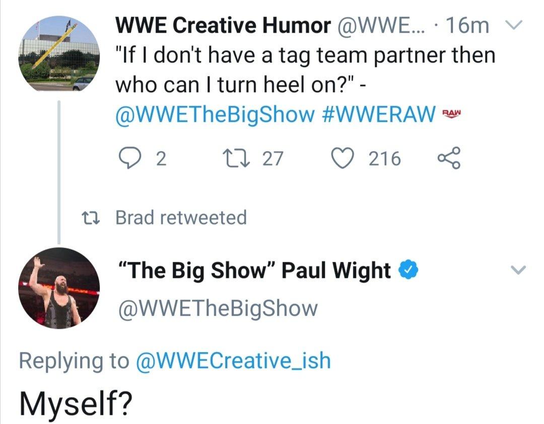 Big Show's response #WWERaw pic.twitter.com/0dNtGg39mV  by Alastair McKenzie🏴