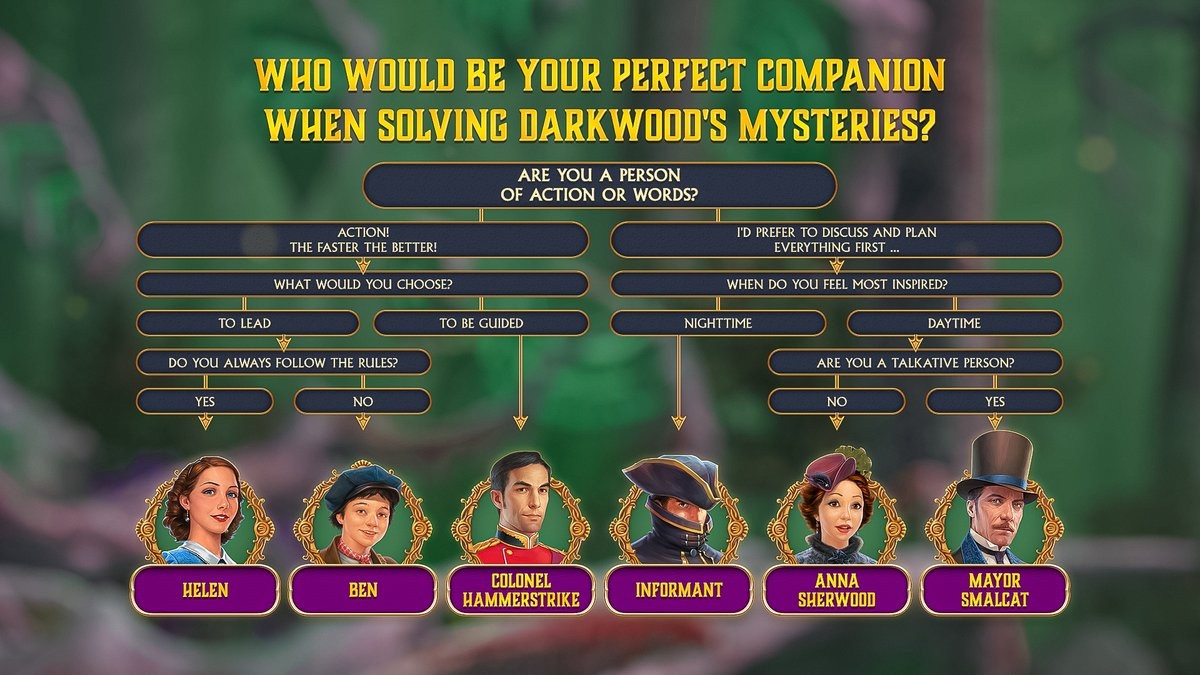 Who would be your #perfect companion when solving #Darkwood's Mysteries? Let's find out in this flowchart! Share what you got in the comments below! 😁✨  #hiddenobject #mobilegame https://t.co/mVS0aD9Yhv