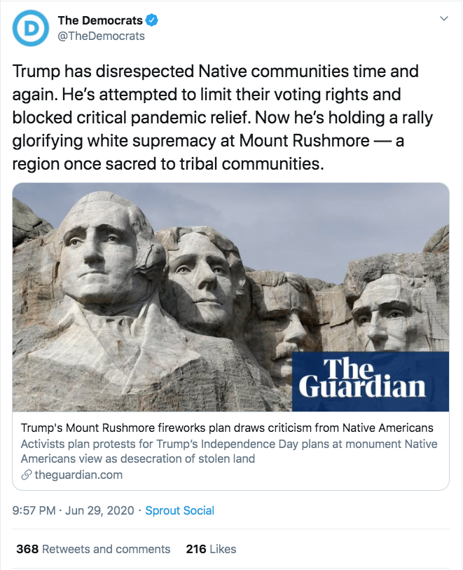 Democratic National Committee: Independence Day Celebrations Glorify White Supremacy twitter.com/TheDemocrats/s…