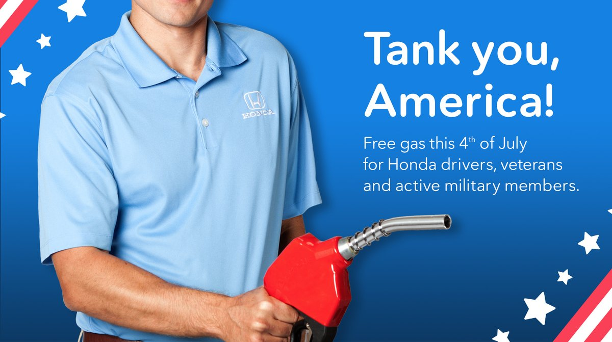 Tank you, America! Today from 9am-1pm, we'll be celebrating the 4th of July with FREE GAS in Northlake, Fort Worth & Weatherford for Honda drivers, veterans, and active military members. If you see us out, don't forget to share a photo to help others find us!