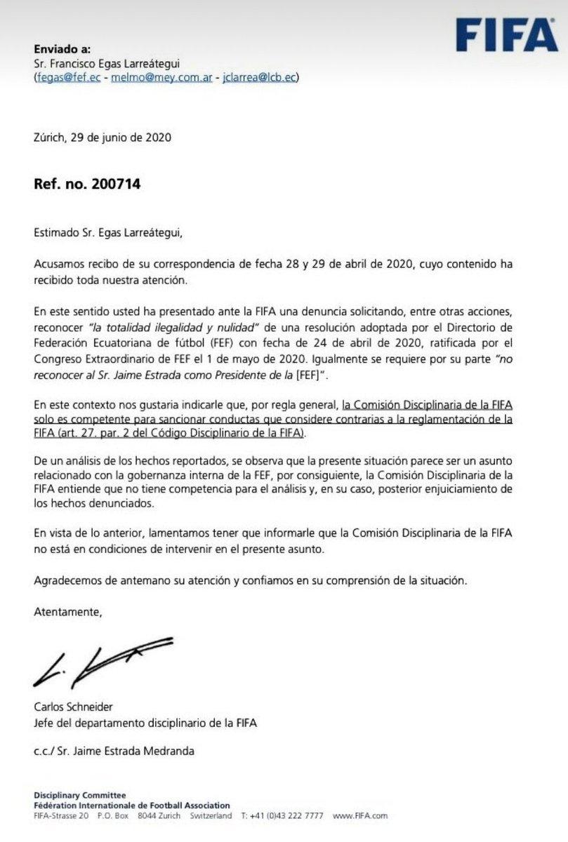 La @FIFAcom declara no tener competencia para dirimir la pugna entre @franciscoegas y @JEIII9 por la presidencia de la @FEFecuador. https://t.co/HY67IRfnLP