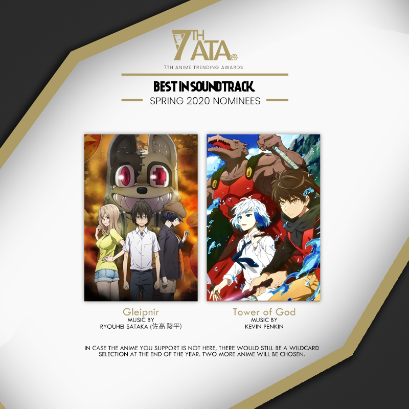 We have selected our nominees for Best in Soundtrack from Spring 2020 for the 7th Anime Trending Awards! 🔥 Current Nominations: bit.ly/ATA2021-Nomine…