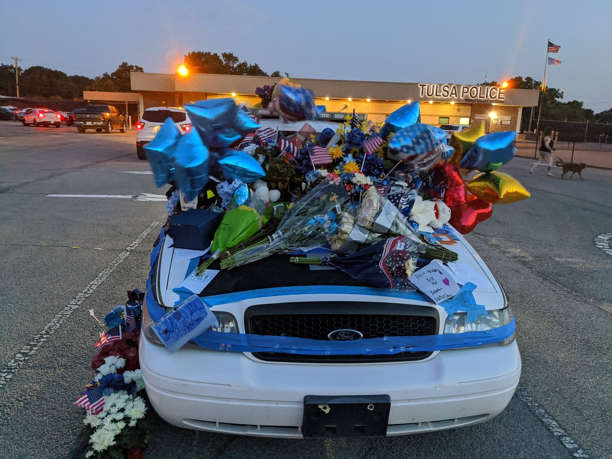 The people of Tulsa held a vigil at our division to show their support for our officers and their families. This car represents a token of their love and support. The wounds of our nation have to start being mended. Enough is enough.