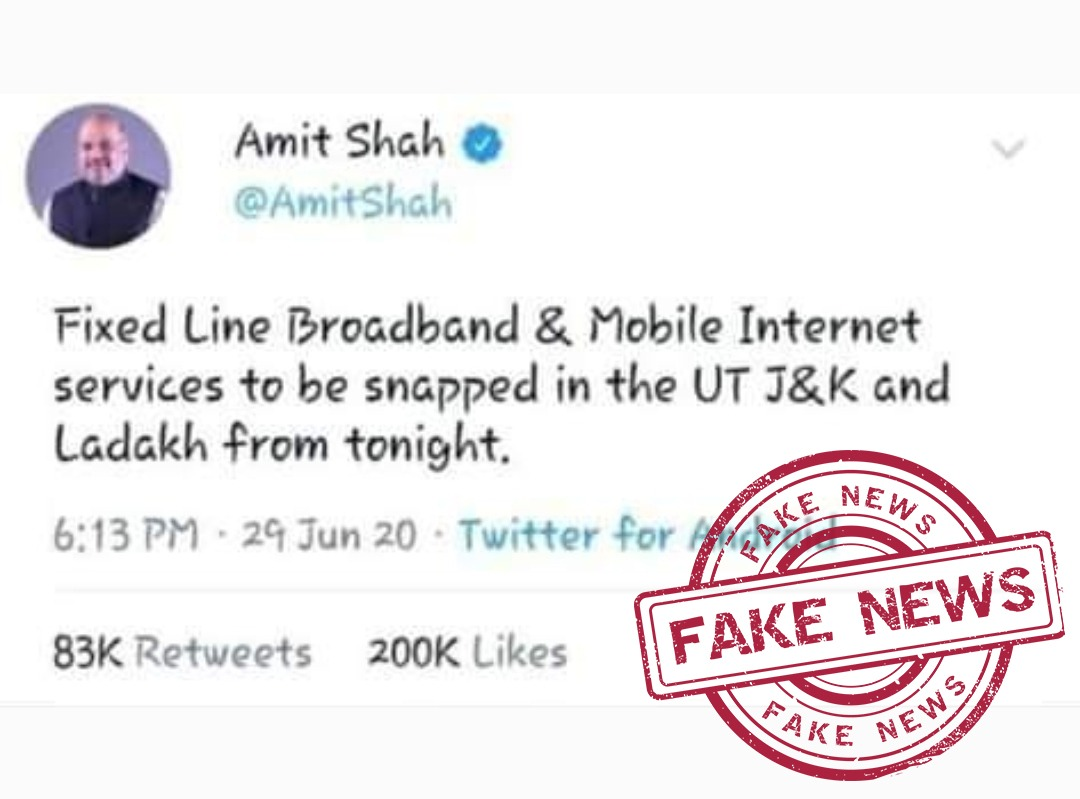 Claim : A tweet is circulating in the name of Union Home Minister mentioning fixed line broadband and internet in J&K and Ladakh to be snapped. #FactCheck : This tweet is #fake. No such tweet has been done from Union Home Minister's twitter handle. @PIBFactCheck @DDNewslive