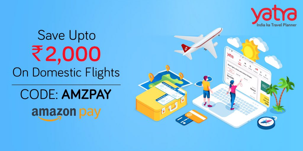 Offer Ends Tonight! Huge Savings on Flights!   Use Amazon Pay and save upto Rs. 2,000.  Use Code: AMZPAY  @amazonIN   #OfferOfTheDay #TuesdayOffer https://t.co/xOBZLygxvP