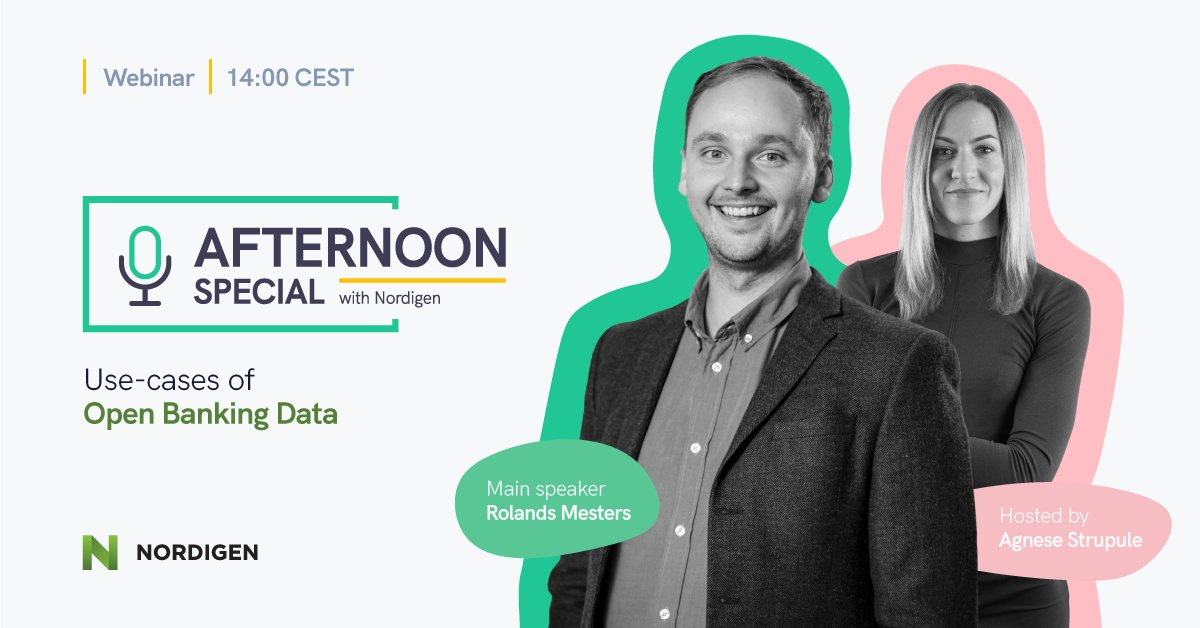 🚀TODAY🚀   The first Afternoon Special with @nordigen where our CEO and co-founder @RolandsMesters will give insights on Open Banking data and different Use Cases, in just few hours.  #openbanking #fintech #bankingsolutions #webinar   See you there! 👋 👇 https://t.co/KpFuTR5i02 https://t.co/pVOAKG8qmo
