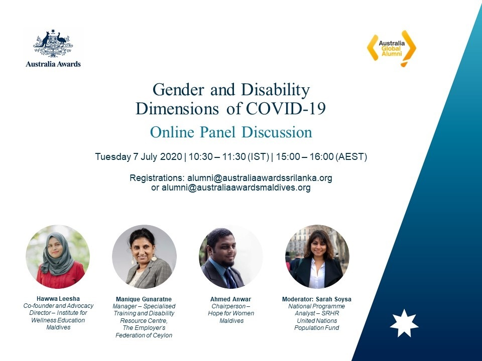 Interested to know more about the gender and disability dimensions of COVID-19 in Sri Lanka  and Maldives ? Hear from Australia Awards alumni from Maldives and Sri Lanka next week. Registration details below @AustraliaAwardspic.twitter.com/y6Min2G1ku