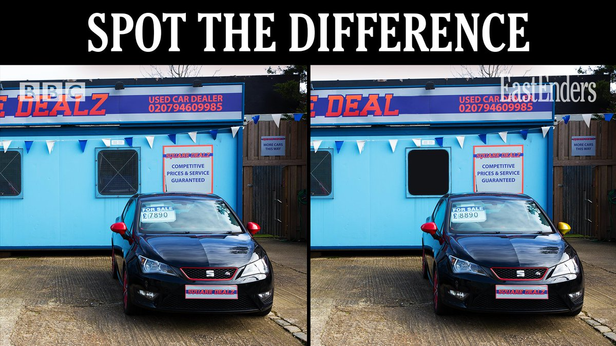 Can you try wheely hard, and spot the 5 differences in these pictures of the car lot? #EastEnders https://t.co/MQquU7myvt
