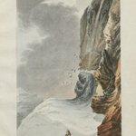 Une très belle illustration tirée d'un livre de 1776. Elle invite à la prudence lors d'excursions dans les Alpes : deux marcheurs au pied d'une cascade regardent tomber des morceaux de glace. Illustration: Bibliothèque nationale suisse et Viaticalpes. https://t.co/9cLHUiBV4x
