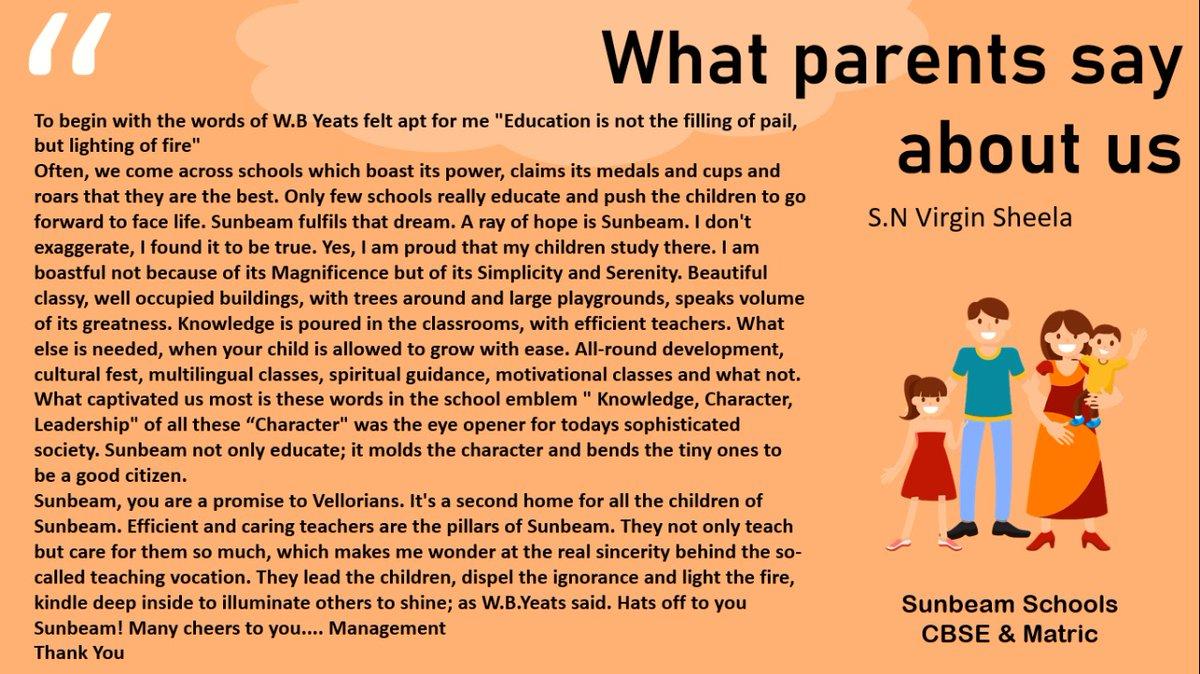 What parents say about Sunbeam!  #Sunbeam #SunbeamCBSESchool #SunbeamMatricSchool #SunbeamSchool #SunbeamSchools #CBSESchool #Sunbeamian #Parent #Parents #Parenting #bestschool #schoollife #NEET #IIT #JEE #coaching #academy #onlineclasses #education #educationalinstitute #vellorepic.twitter.com/R3YAVO2gre