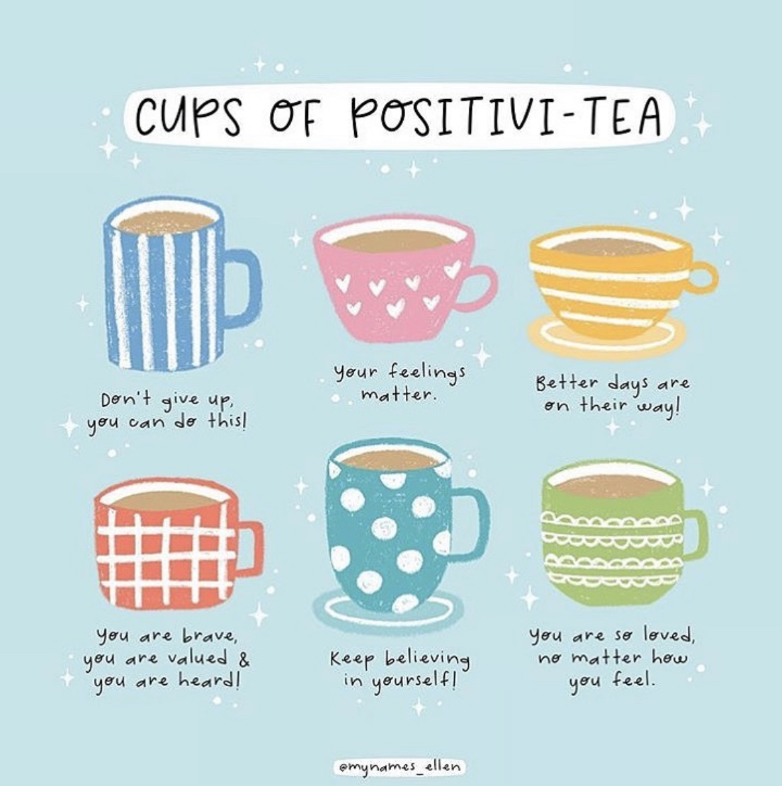 Make yourself some positivity-tea!  #affirmation #positivity #feelings #mindset pic.twitter.com/T5tGfcxorE