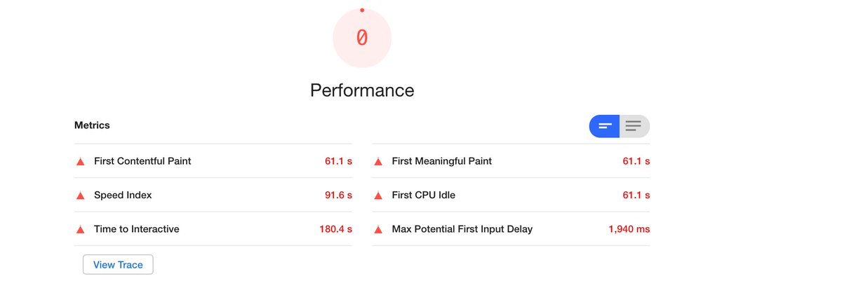 I am working on react project,to improve the web performance, current matrixes are very poor....lets see how much improvement can be done.....will be posting my findings on this thread #webperf #javascript<br>http://pic.twitter.com/B7hnP5AKPt