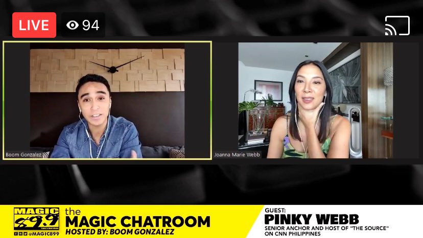 Watch news anchor and host of THE SOURCE on CNN Philippines—@iampinkywebb—as she enters The Chatroom with @gamedaywithboom in her first ever radio interview! #TheMagicChatroom facebook.com/Magic89.9/vide… magic899.fm/twitchstream.a… app.kumu.ph/a/key_live_djs…