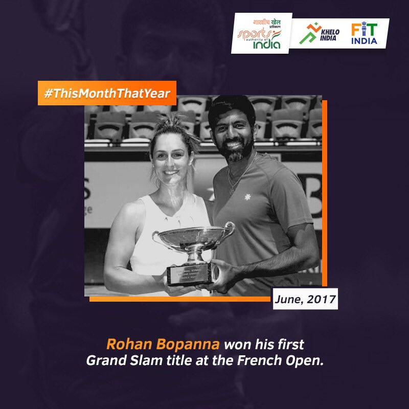 In June 2017, tennis champion @rohanbopanna won his first ever Grand Slam title at the French Open Mixed Doubles with partner #GabrielaDabrowski. Want to tell us your story from June? Tell us using #ThisMonthThatYear. @KirenRijiju @DGSAI @RijijuOffice @PIB_India @AITA__Tennis