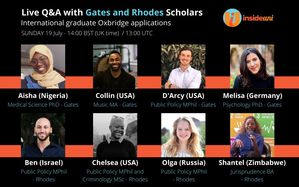 Questions about the #postgrad application process? Join @inside_uni webinar with @Gates_Cambridge scholars and have your questions answered! 👇  🗓️ Sunday 19 July 2pm BST 💻 https://t.co/sN1gHHSQ3O https://t.co/ESLHOhDbJV
