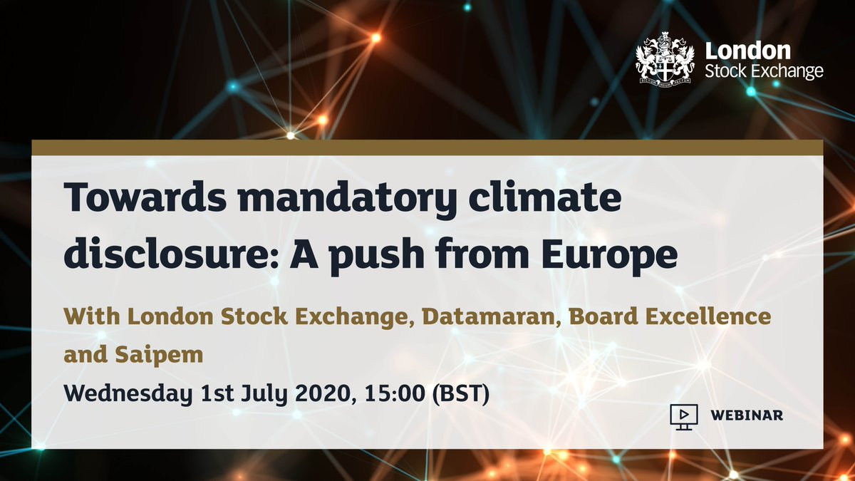 Join the upcoming webinar, by @LSEplc in partnership with @DatamaranAI, Board Excellence and Saipem, which will focus on key aspects of regulatory developments in relation to the EU Green Deal strategy and how they will impact businesses around the world. bit.ly/2AdQ9mi